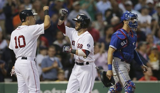 Boston Red Sox' Dustin Pedroia, right, is congratulated by teammate Jose Iglesias (10) after his two-run home run off Toronto Blue Jays starting pitcher Chien-Ming Wang in the second inning of a baseball game at Fenway Park, Thursday, June 27, 2013, in Boston. At right is Toronto Blue Jays catcher J.P. Arencibia (9). (AP Photo/Charles Krupa)