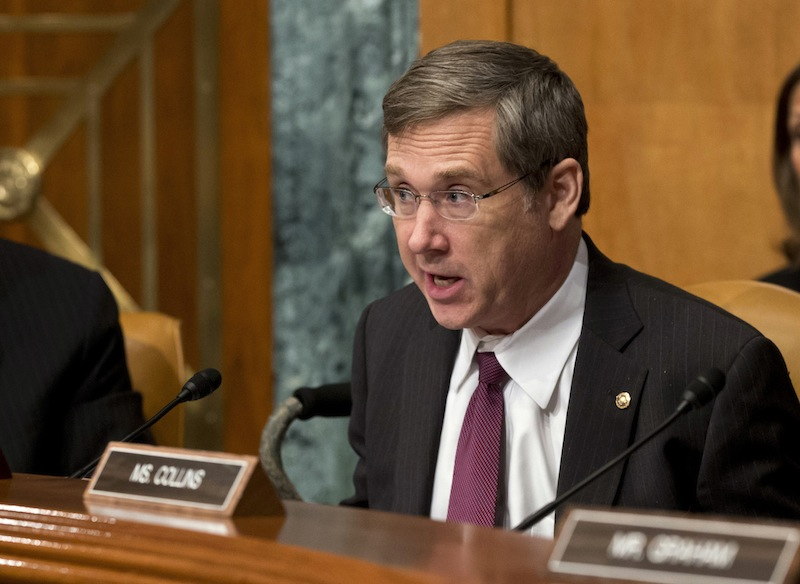 """In this June 6, 2013 file photo, Sen. Mark Kirk, R-Ill., speaks during a Senate Appropriations subcommittee hearing in Washington. Kirk said Thursday, June 20, 2013, he's been working with colleagues to craft immigration reform that's gaining momentum in the Senate. He says the measure will secure the U.S. border to the south and create a """"tough but fair"""" path to citizenship. (AP Photo/J. Scott Applewhite, File)"""