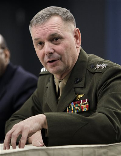 Then-Joint Chiefs Vice Chairman Gen. James E. Cartwright takes part in a media briefing at the Pentagon in this Jan. 29, 2011, photo.
