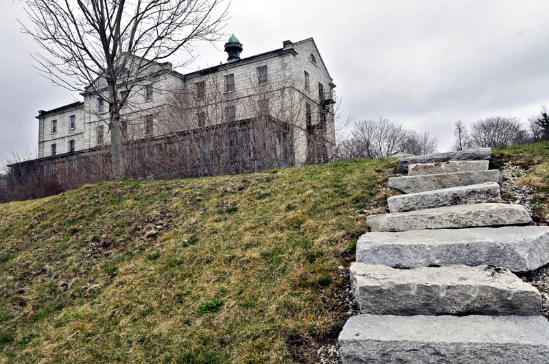 A set of granite steps leading from the Kennebec River to one of the buildings at the Kennebec Arsenal, as seen on April 23.