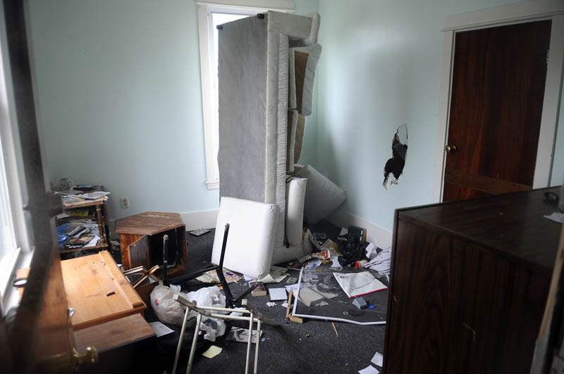 An abandoned apartment in a vacated building on Water Street in Augusta on Tuesday.