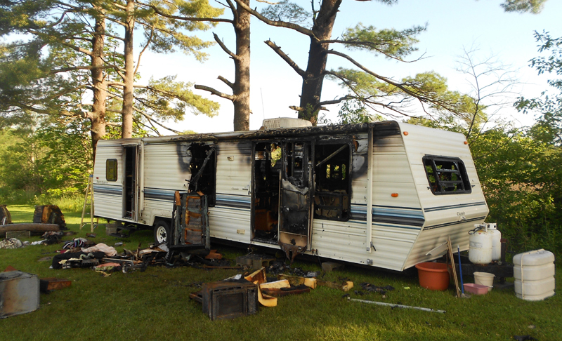 Fire severely damaged this recreational vehicle camped on family property on Cony Road Wednesday night. Fire Chief Roger Audette reports no injuries.