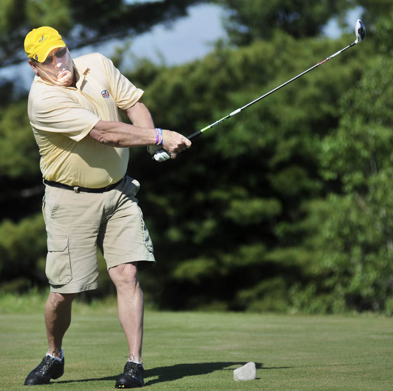 Gov. Paul LePage tees off Monday during the 8th annual Marlee Johnston Golf Tournament at the Belgrade Lakes Golf Club. Sponsored by Kents Hill School, the tournament has raised more than $100,000 for the Marlee Johnston Memorial Scholarship Fund since it began. Established in 2006 by Marlee's parents, Ted Johnston and Marlene Thibodeau, the money helps day students attend the private school in Readfield, in memory of the Fayette 14-year-old who was murdered in 2005.