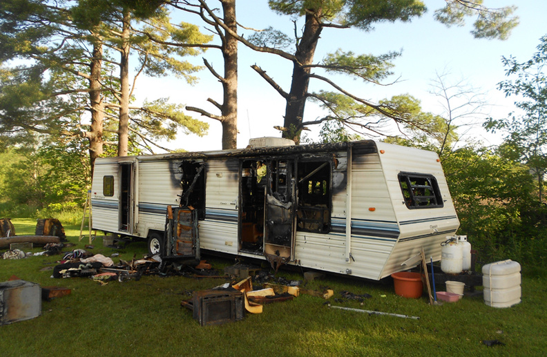 The Augusta Fire Department responded to a recreational vehicle fire on Cony Road around 9:15 p.m. Wednesday. Fire Chief Roger Audette said no one was hurt, but that an elderly woman lived in the RV on her son's property. Fire officials suspect the fire started in a gas-operated refrigerator inside the RV. The American Red Cross is working to help the woman replace her clothing and other items lost in the fire, Audette said.