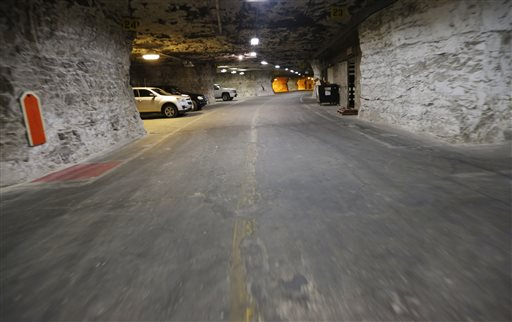 Paved roadways lead the way through the Vivos Shelter and Resort during a tour of the facility in Atchison, Kan.