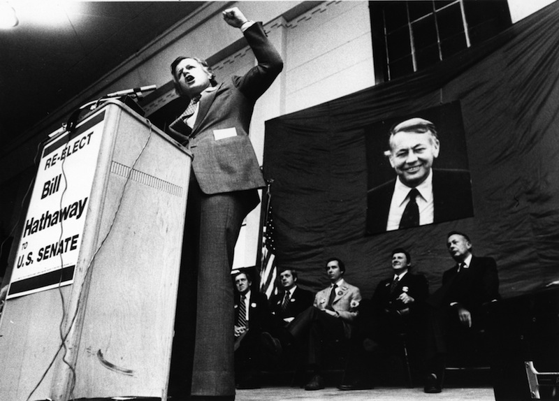 "Sen. Ted Kennedy campaigns on Nov. 4, 1978, for Maine U.S. Sen. Bill Hathaway, whose picture hangs in the background. Former U.S. Senator William ""Bill"" Hathaway of Maine has died at 89."
