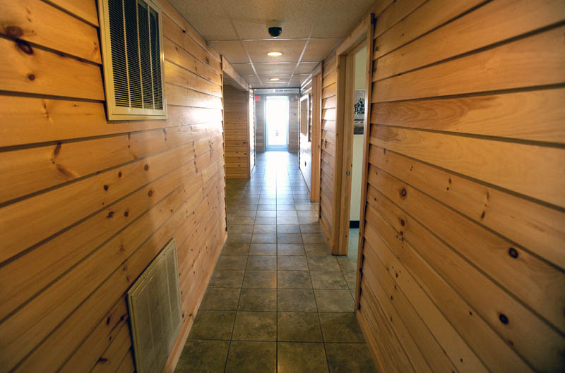 The hallway entering the lobby at the newly renovated Robert LaFleur Municipal Airport in Waterville.