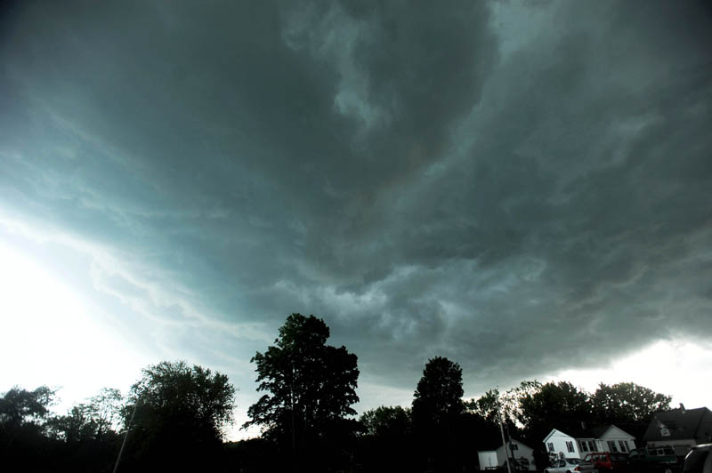 A strong thunder cell moves north over Waterville toward Bingham on Sunday. The thunderstorms produced a weak tornado that touched down in Pleasant Ridge Plantation.