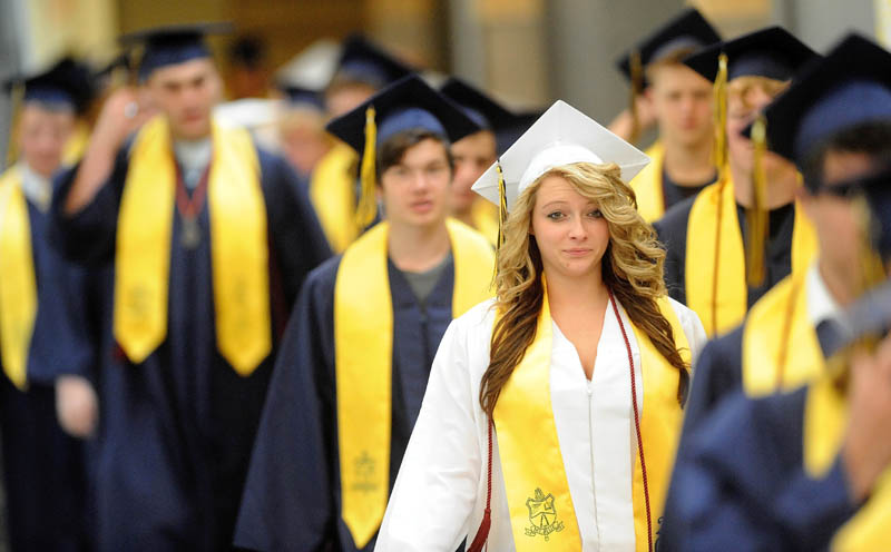 Mt. Blue High School's class of 2013 make their way to commencement ceremonies in Farmington on Saturday..
