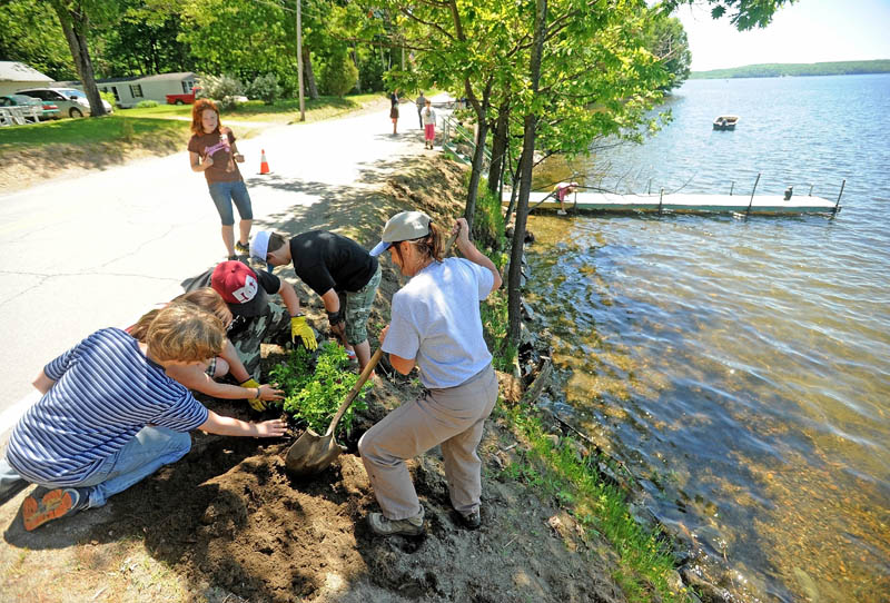 Jodie Mosher-Towle, right, helps students from the Cornville charter school plant a bush on the banks of North Pond on Wednesday.