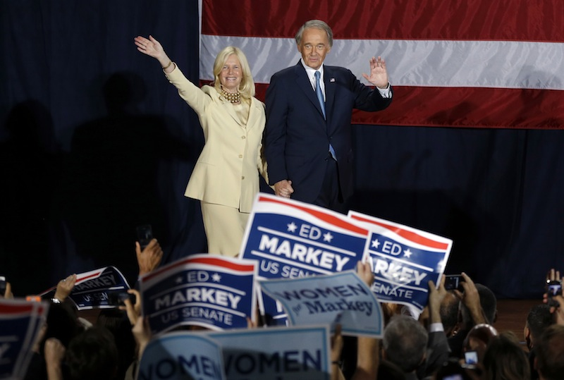 Democratic U.S. Rep. Edward Markey, with wife Dr. Susan Blumenthal, celebrates his victory in the Massachusetts special election for the U.S. Senate at his campaign party Tuesday, June 25, 2013, in Boston. Markey defeated Republican candidate Gabriel Gomez for the Senate seat vacated by Secretary of State John Kerry. (AP Photo/Elise Amendola)