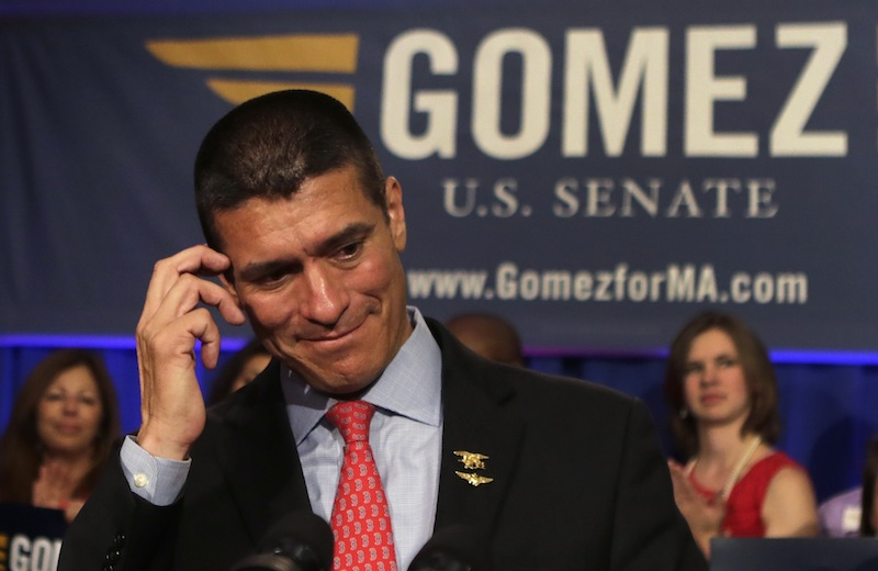 Gabriel Gomez, the Republican candidate for U.S. Senate in the Massachusetts open seat special election, pauses while addressing supporters during an election day party in Boston, Tuesday, June 25, 2013. Gomez lost his bid against Democrat U.S. Rep. Ed Markey, who won the election and will take the seat vacated by John Kerry's departure to become Secretary of State. (AP Photo/Charles Krupa)