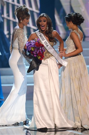 Miss Connecticut Erin Brady reacts after winning the Miss USA 2013 pageant Sunday in Las Vegas.