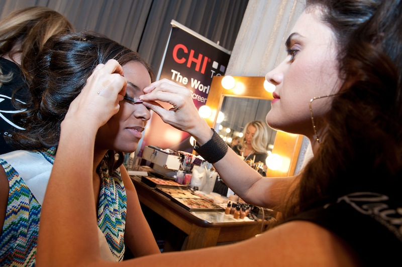 This photo provided by the Miss Universe Organization, Miss South Carolina USA 2013, Megan Pinckney gets her make up prepared prior to the 2013 Miss USA Competition Preliminary Show in Las Vegas on Wednesday June 12, 2013. She will compete for the title of Miss USA 2013 and the coveted Miss USA Diamond Nexus Crown on June 16, 2013. (AP Photo/Miss Universe Organization, Valerie Macon) Miss USA 2013;Preliminary Show;Rain