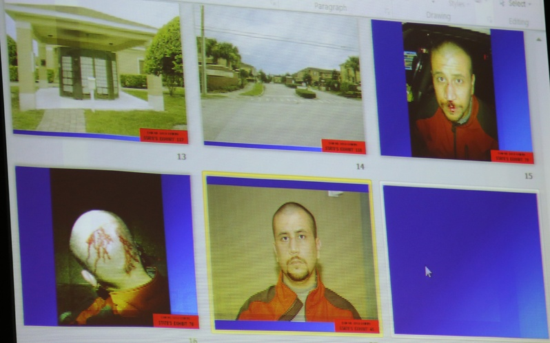 State evidence photos, including various photos of George Zimmerman on the night of the Trayvon Martin shooting, are projected on a video screen in the courtroom during Zimmerman's trial in Seminole circuit court, in Sanford, Fla., on Friday.