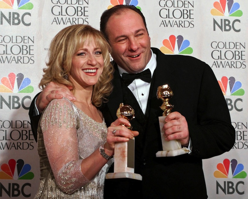 "his Jan. 23, 2000 file photo shows actors Edie Falco, left, and James Gandolfini with their awards for best performance by an actress and actor in a dramatic televison series for ""The Sopranos,"" during the 57th Golden Globe Awards in Beverly Hills, Calif. HBO and the managers for Gandolfini say the actor died Wednesday, June 19, 2013, in Italy. He was 51. (AP Photo/Kevork Djansezian, file)"