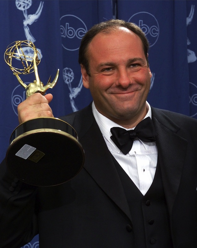 This Sept. 10, 2000 file photo shows actor James Gandolfini with his award for outstanding lead in a drama series for his work in