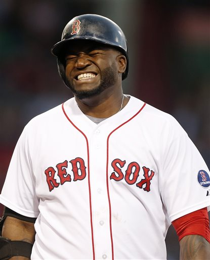 Boston Red Sox's David Ortiz reacts after flying out in the fourth inning of a baseball game against the Tampa Bay Rays in Boston, Wednesday, June 19, 2013. (AP Photo/Michael Dwyer)