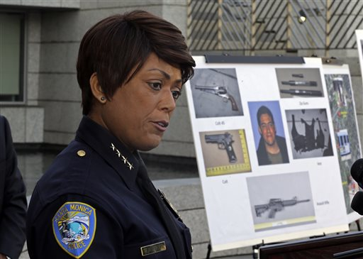 Police Chief Jacqueline Seabrooks of the Santa Monica, Calif., Police Department speaks at a news conference Thursday.