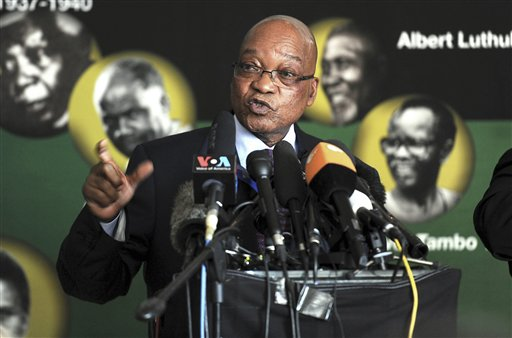 "South African President Jacob Zuma addresses journalists in Johannesburg Monday. Zuma said that Nelson Mandela's condition in a Pretoria hospital remained critical for a second straight day and described the stricken anti-apartheid hero as being ""asleep"" when he visited Mandela the previous evening."