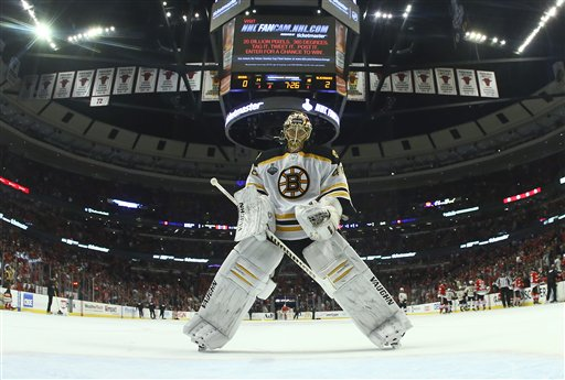 Boston Bruins goalie Tuukka Rask skates back to the crease after a goal by the Chicago Blackhawks in the second period of Game 5 of the Stanley Cup Finals on Saturday in Chicago. The Blackhawks won 3-1.