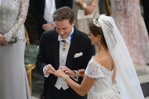 Princess Madeleine of Sweden and Christopher O'Neill during their wedding ceremony at the Royal Chapel in Stockholm on Saturday.