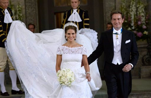 Sweden's Princess Madeleine and Christopher O'Neill leave the Royal Chapel after their wedding ceremony in Stockholm, Saturday.