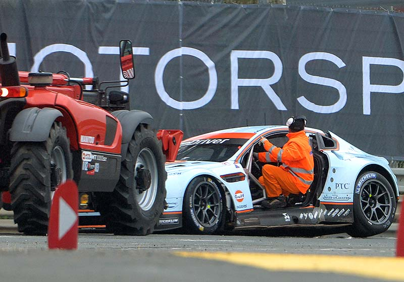 """The No.95 Aston Martin Vantage GTE, driven by Allan Simonsen of Denmerk is seen after his crash. The No.95 Aston Martin Vantage GTE, driven by Simonsen exited the track at high speed at the """"Tertre Rouge"""" corner on his fourth lap of the race, he died after due to his injuries."""