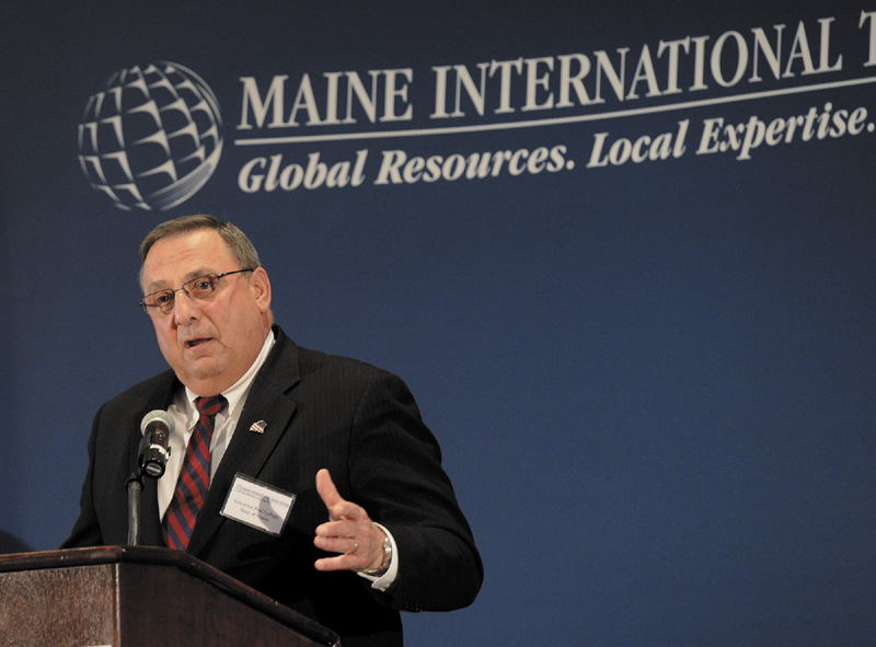 Gov. Paul LePage speaks at the International Trade & Investment Awards Luncheon Friday.