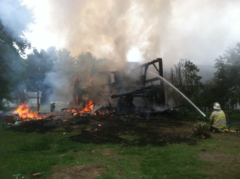 A Farmingdale fire Wednesday has claimed a barn and a house is fully involved.