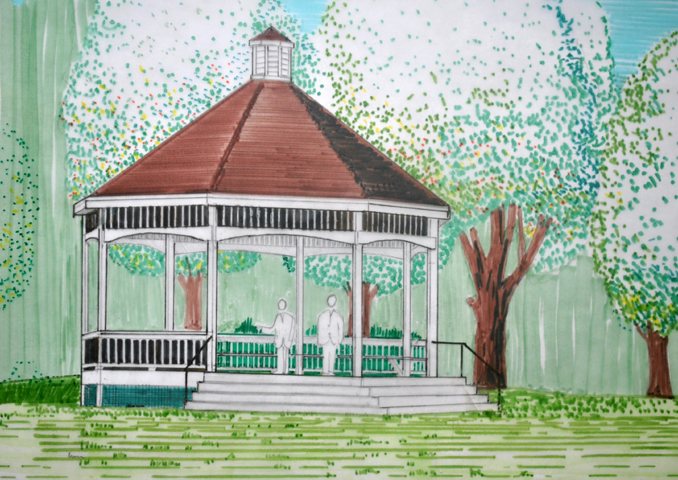 This sketch of the new Gardiner Common gazebo, by Brian Kent of Kent Associates, shows what the structure will look like once it's finished. The city is seeking bids for the construction of the new gazebo, which is expected to be completed by mid-September.