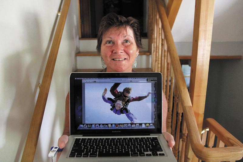 Augusta resident Leona McKenna, who is blind, went skydiving on Saturday in Lebanon to celebrate her 50th birthday. McKenna made the tandem jump with instructor Tony Hays of Skydive New England.