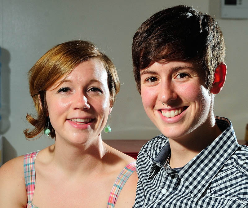 Sophie and Ari Gabrion on Wednesday in Hallowell. They were married on the first day that Maine's marriage equality law took effect last December and are planning a bigger wedding ceremony this September.