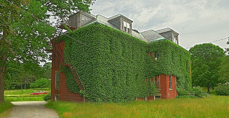 Ivy grows on an old building at 7 Beech St., in the old Stevens School complex, on Friday in Hallowell.