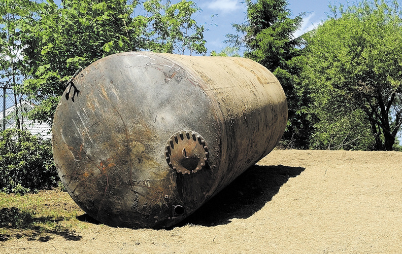 A large tank that was recently removed from the backyard of home on Blaine Avenue in Augusta.