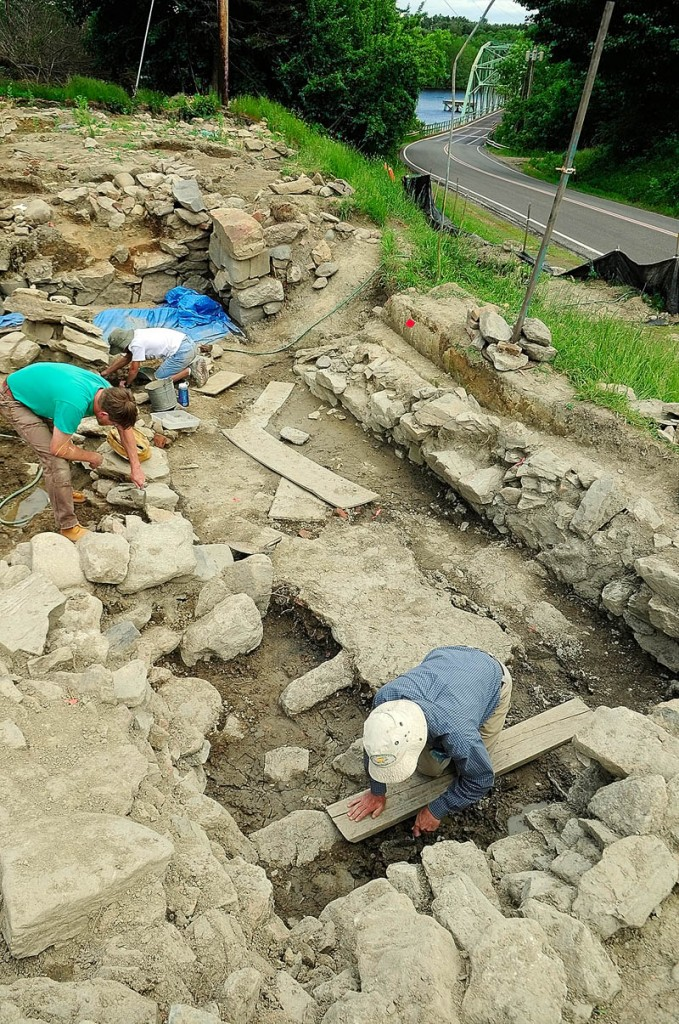 People work at an archeological dig on Tuesday at the Fort RIchmond site near the Kennebec River in Richmond.