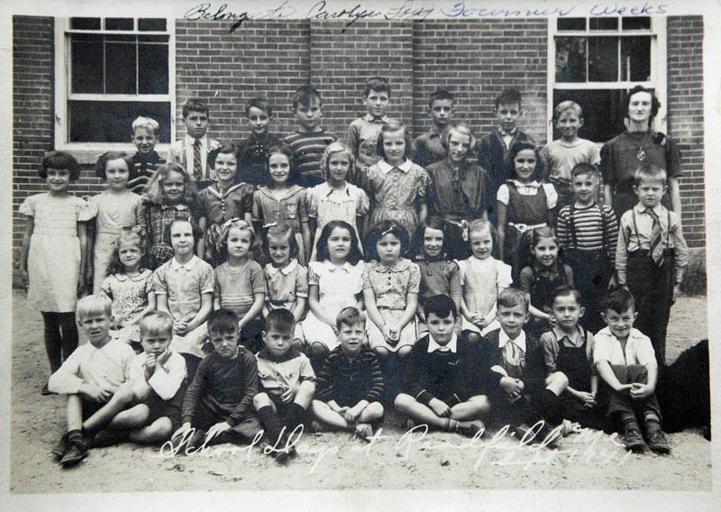 This is a 1941 class photo of the students who attended school in Asa Gile Hall in Readfield.