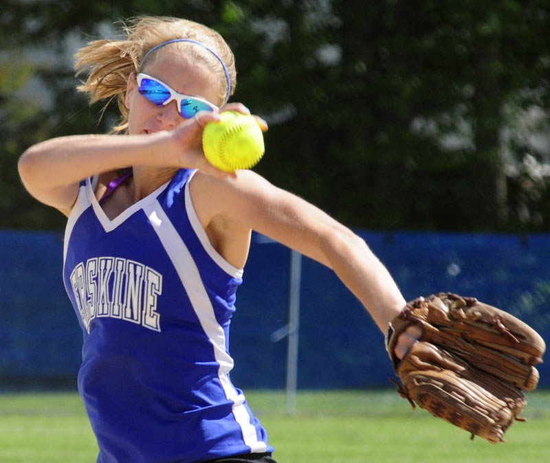 HERE'S THE PITCH: Erskine Academy pitcher Alyssa Gartley winds up to throw a pitch against Lawrence High School during an Eastern Class A preliminary-round game Tuesday at Erskine Academy in South China.