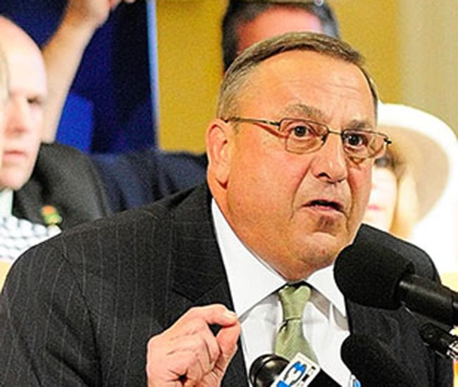Gov. Paul LePage speaks during a rally with conservative activists Thursday at the State House in Augusta. After the rally, he verbally attacked Democratic Sen. Troy Jackson of Allagash, according to WMTW.