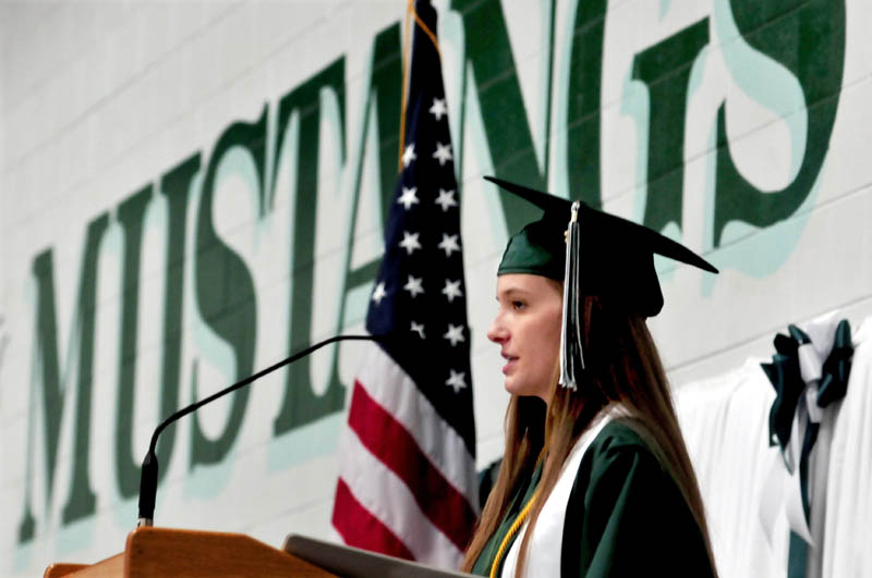 Mount View High School valedictorian Alexis Morse delivers her address to graduates during commencement in Thorndike on Saturday.