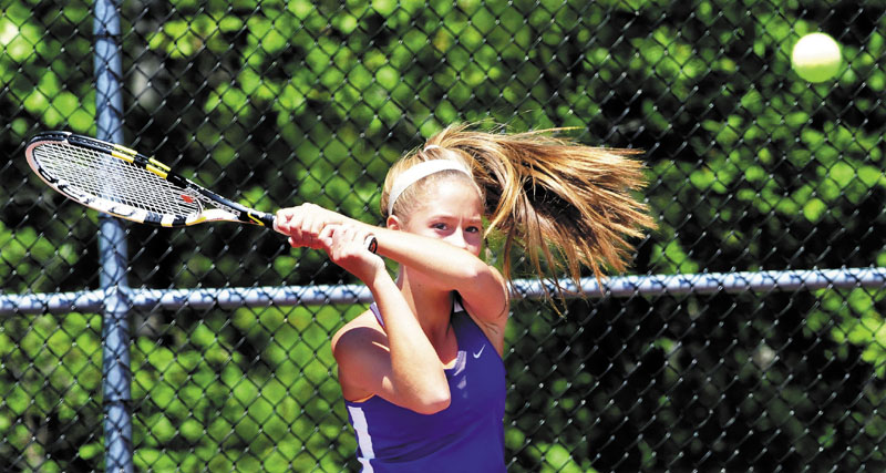 MOVING ON: Waterville's Colleen O'Donnell earned a 6-0, 6-1 win over Ina Maloney and the Waterville girls tennis team beat Ellsworth 4-1 in the Eastern B regional final Wednesday in Orono.