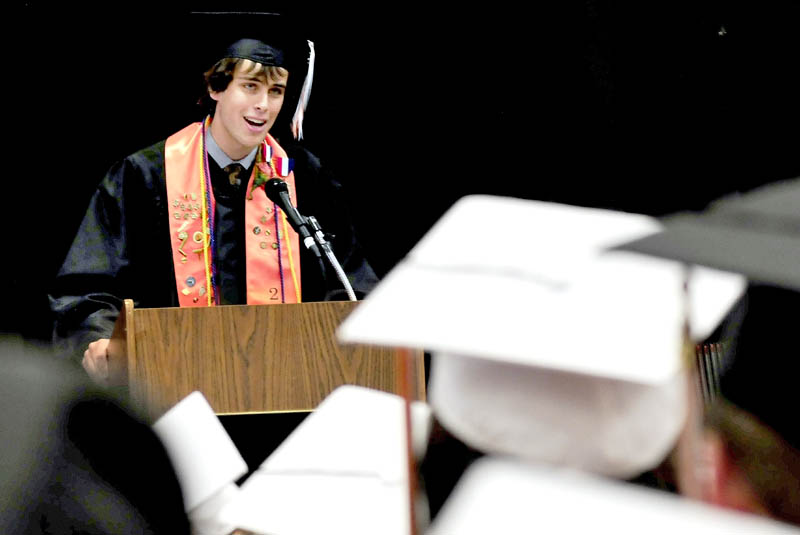 Skowhegan Area High School student and senior class steward Samuel Wheeler speaks to graduates during commencement on Sunday.
