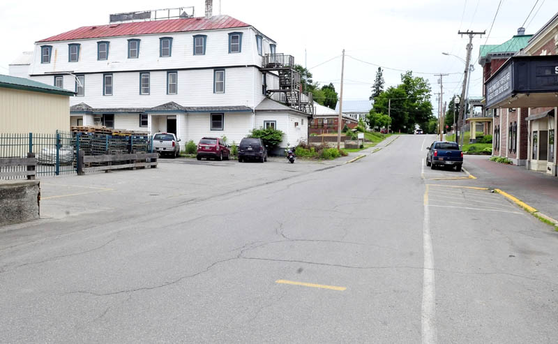 Looking down Court Street in Skowhegan is the former Maine Central Railroad Hotel, which most recently was the former Kennebec Valley Inn. Marc and Janet Wheeler are renovating the building into a lounge, dance hall and banquet room facilities.
