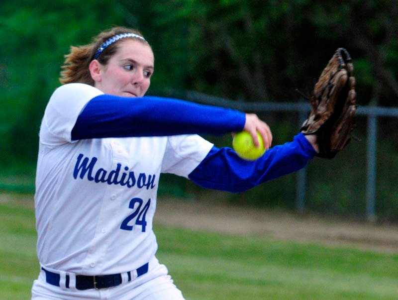 Staff photo by Joe Phelan MAKING AN IMPACT: Madison pitcher Emily McKenney has been a force both at the plate and in the circle to help the Bulldogs reach the Class C state championship game for the first time since 1998. The Bulldogs face Bucksport at noon Saturday in Brewer.