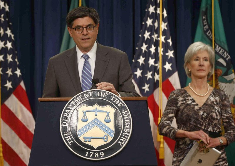 Treasury Secretary Jacob Lew and Health and Human Services Secretary Kathleen Sebelius speak about Social Security and Medicare on Friday in Washington.