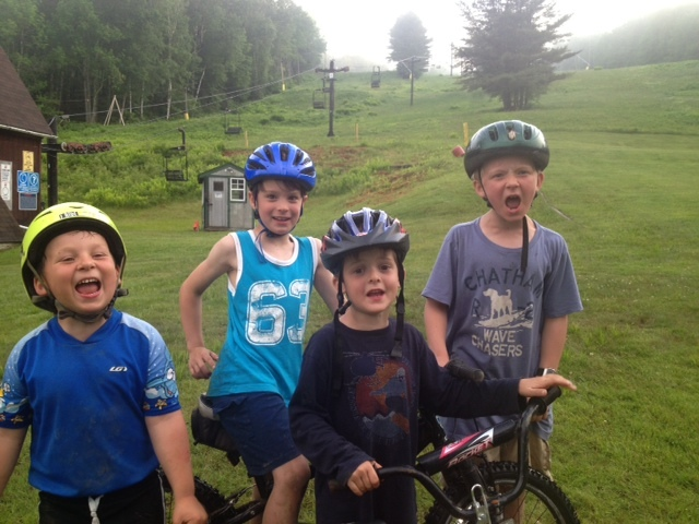 Brian Leonard and buddies Owen Morong, Will Laidlaw and Griffin Carnell prepare to head for the mountains during camp at the Ragged Mountain Recreation Area.