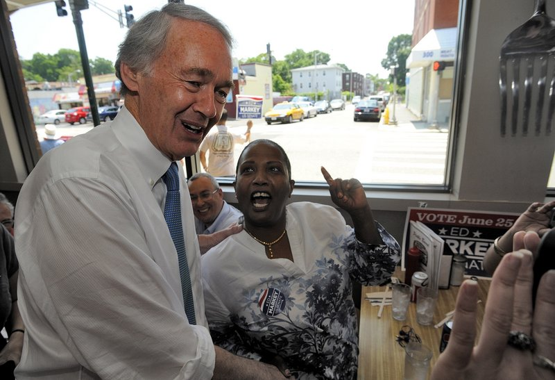 Massachusetts Senate Democratic candidate Ed Markey, left, meets and greets grassroots volunteers and supporters at the Pickle Barrel Restaurant & Deli, in Worcester, Mass., Monday, June 24, 2013. Markey and Republican Gabriel Gomez made appeals to voters Monday in the final hours before Massachusetts' special election for the U.S. Senate, where turnout is expected to be light, a contrast to the high-profile special election in the state three years ago. (AP Photo/Worcester Telegram & Gazette, John Ferrarone)
