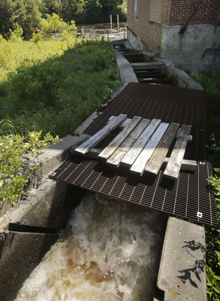 Boards lying on a grate over the fishway at the Grand Falls Dam in Baileyville had been used to block passage of alewives. After nearly two decades, this year the fish are allowed to resume their annual journey.