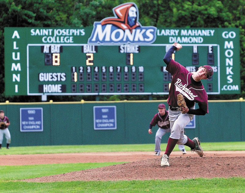 Richmond's Mike Stewart throws a pitch in first inning against Buckfield in the Western Maine Class D baseball championship Thursday at Larry Mahaney Diamond at St. Joseph's College in Standish.