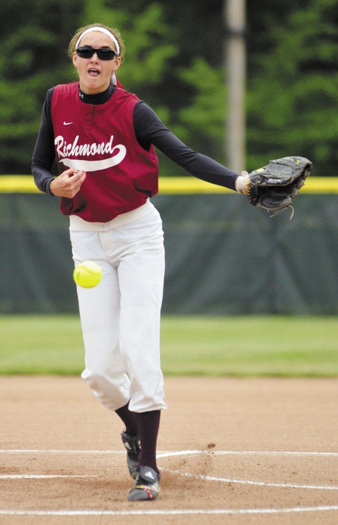 Jamie Plummer pitched a perfect game as the Richmond softball team beat Greenville 12-0 in five innings in the Western Maine Class D championship game Thursday in Standish.